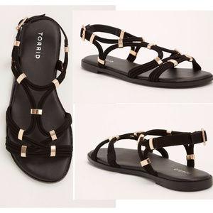 Torrid Gladiator Black Sandals 10W T-Strap Shoes